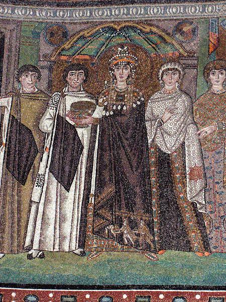 """""""Corte di Teodora"""" particolare - metà del VI secolo, San Vitale (Ravenna)"""