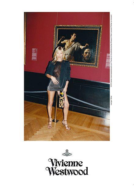"""Vivienne Westwood SS 13 campaign - Alle spalle di Kate Moss: """"Davide con la testa di Golia"""" di Caravaggio, 1607"""