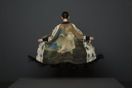 "Silk Chiffon Fringe Kimono - Rijksmuseum Collaboration - ""The Threatened Swan"" by Jan Asselijn"